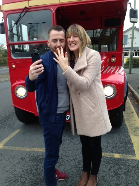 she said yes on a red london bus