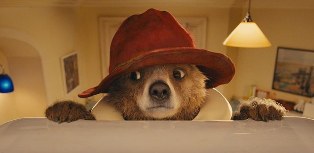 Paddington on one of our classic Routemaster buses in 2014.  (Promo for the movie.)