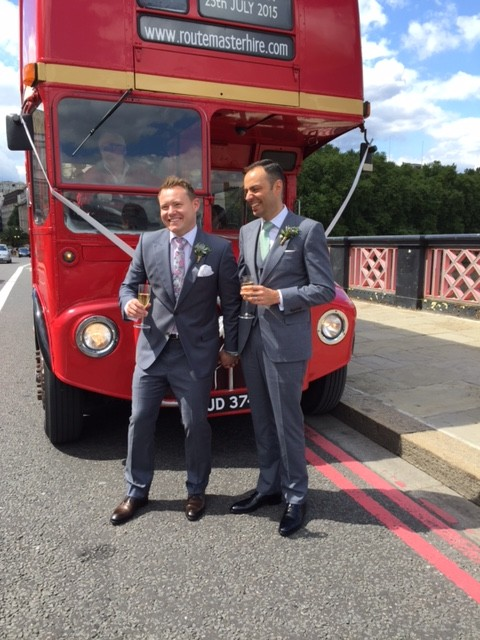 alan in front of routemaster hire red london bus on bridge