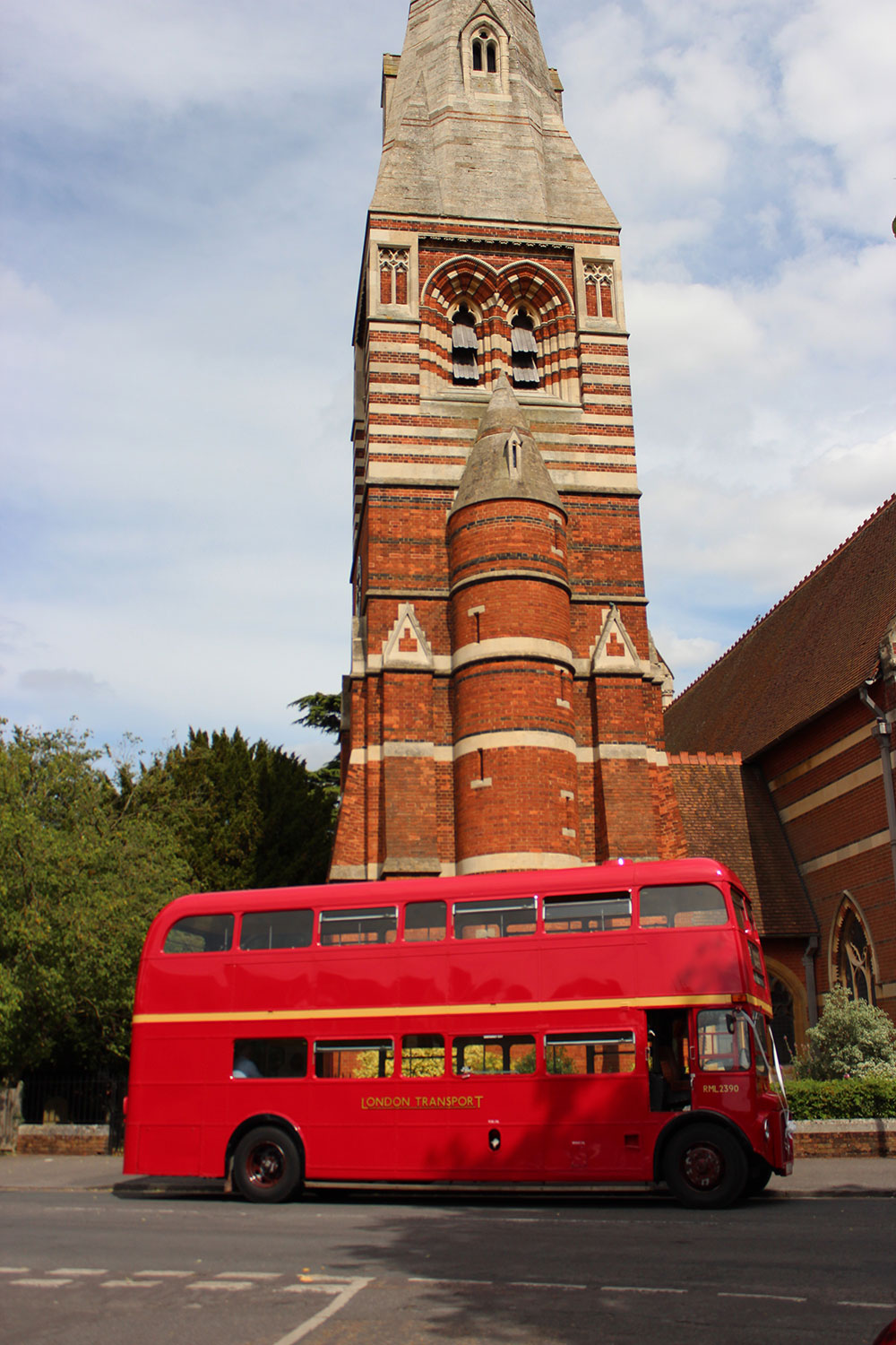 Daniel Fairbairn, Wedding photo of routemaster hire bus outside church